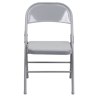 Flash Furniture Hercules Series Triple-Braced, Double-Hinged Metal Folding Chair, Gray (HF3MC309ASGY)