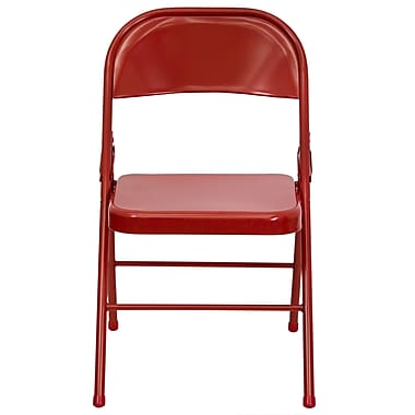 Flash Furniture Hercules Triple-Braced, Double-Hinged Metal Folding Chair, Red (HF3MC309ASRED)