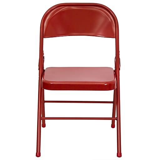 Flash Furniture  Hercules Triple-Braced, Double-Hinged Metal Folding Chair, Red (HF3MC309ASRED)