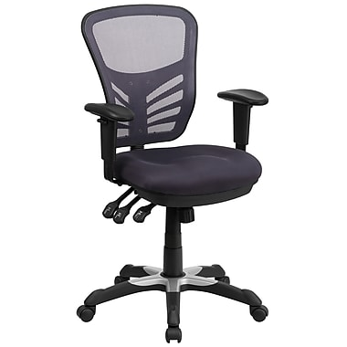 Flash Furniture Mid-Back Mesh Swivel Task Chair, Dark Gray, Triple Paddle Control (HL0001DKGY)