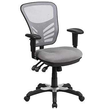 Flash Furniture – Chaise de travail pivotante à dossier mi-hauteur en filet avec 3 manettes de commande, gris (HL0001GY)