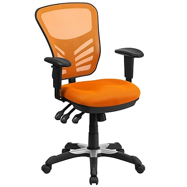 Flash Furniture Mid-Back Mesh Swivel Task Chair with Triple Paddle Control, Orange (HL0001OR)