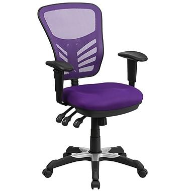 Flash Furniture – Chaise de travail pivotante à dossier mi-hauteur en filet, 3 manettes de commande, violet (HL0001PUR)