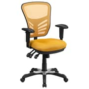 Flash Furniture Mid-Back Mesh Swivel Task Chair with Triple Paddle Control, Yellow-Orange (HL0001YEL)