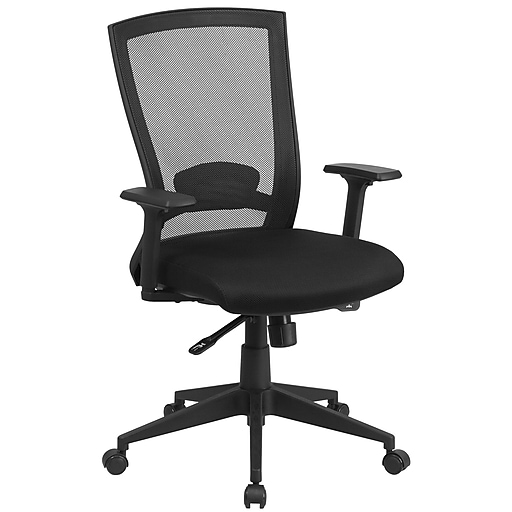 Flash Furniture Mesh Mid-Back Executive Swivel Office Chair in Black w/Back Angle Adjustment HL0004K