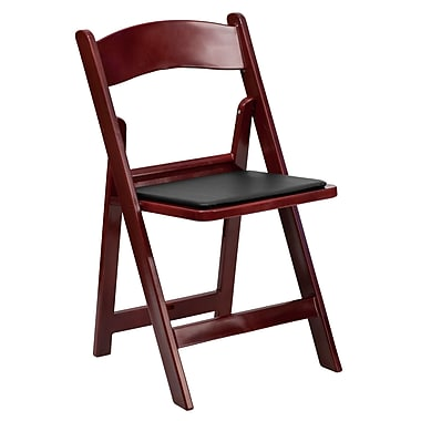 Flash Furniture Hercules Series 1000lb Capacity Red Mahogany Resin Folding Chair with Black Vinyl Padded Seat, (LEL1MAH)