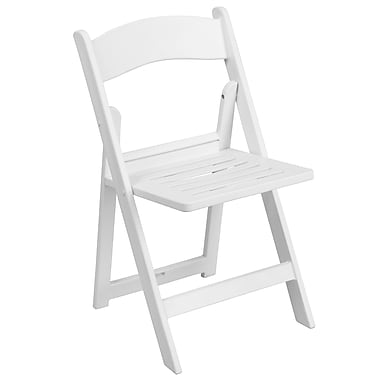 Flash Furniture Hercules Series 1000lb-Capacity Resin Folding Chair with Slatted Seat, White (LEL1WHSLAT)