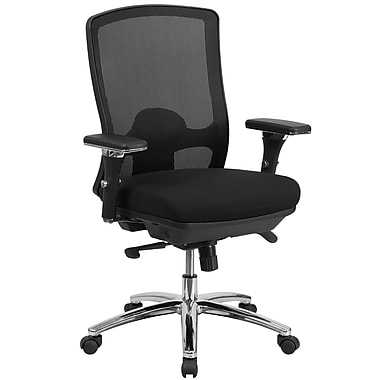 Flash Furniture LQ2BK Hercules Series Big & Tall 350lb Capacity Black Mesh Multi-Functional Swivel Chair with Synchro-Tilt