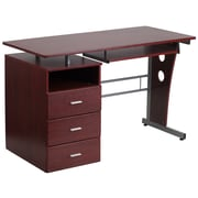 Flash Furniture Desk with 3-Drawer Pedestal and Pull-Out Keyboard Tray, Mahogany (NANWK008)