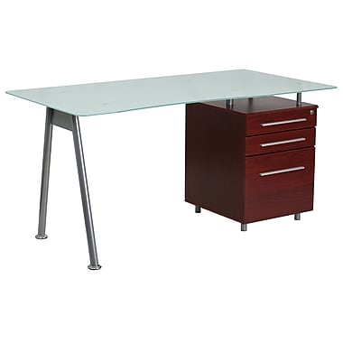 Flash Furniture Glass Computer Desk with 3-Drawer Pedestal, Mahogany (NANWK021MAH)
