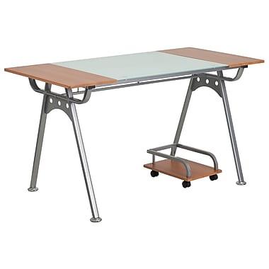 Flash Furniture – Bureau d'ordinateur avec surface en verre et en stratifié cerisier (NANWK025)