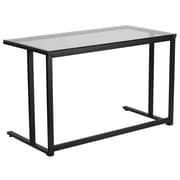 Flash Furniture Glass Desk with Black Pedestal Frame (NANWK055)