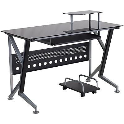 Flash Furniture Glass Computer Desk with PullOut Keyboard Tray