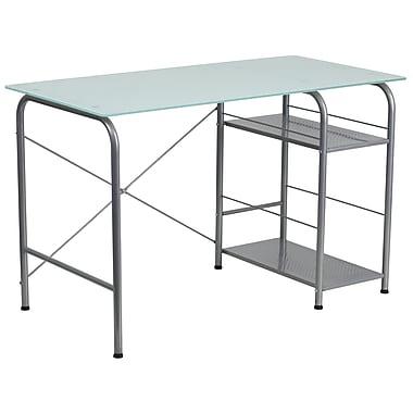 Flash Furniture – Bureau d'ordinateur en L en verre avec rangement ouvert (NANWK086)