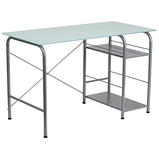 "Flash Furniture 47"" Glass Computer Desks Silk, White/Silver (NANWK086)"