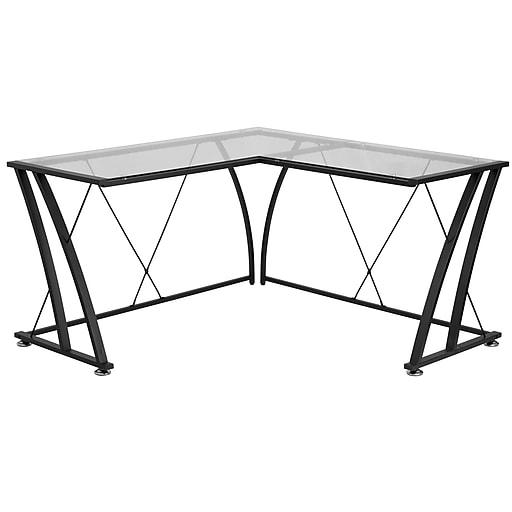 "Flash Furniture 79"" Glass L-Shape Computer Desk, Clear/Black (NANWK096)"