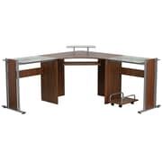 Flash Furniture NANWK105 Corner Desk with Pull-Out Keyboard Tray and CPU Cart, Teakwood Laminate