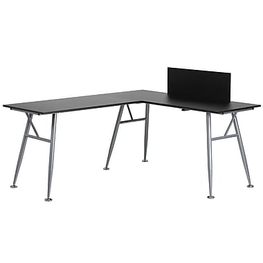 Flash Furniture – Bureau d'ordinateur en L, noir avec structure au fini argenté