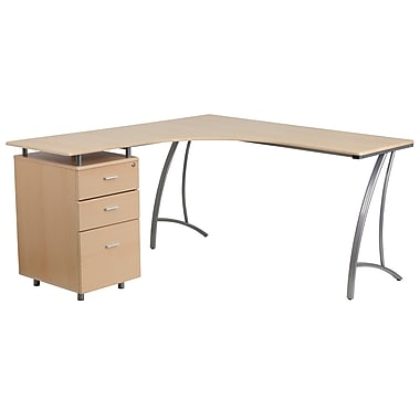 Flash Furniture Laminate L-Shaped Desk, Beech with 3-Drawer Pedestal (NANWK113)