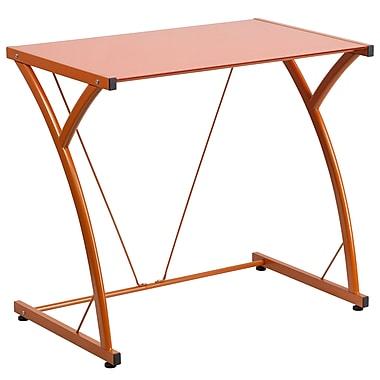 Flash Furniture – Bureau d'ordinateur contemporain en verre trempé, orange (NANWKSD02OR)