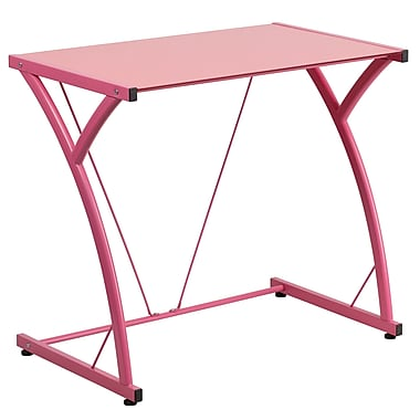 Flash Furniture – Bureau d'ordinateur contemporain en verre trempé, rose (NANWKSD02PINK)
