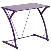 Flash Furniture Contemporary Purple Tempered-Glass Computer Desk with Matching Frame (NANWKSD02PUR)