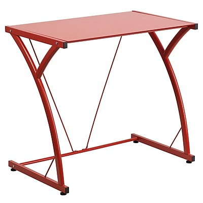 Flash Furniture Contemporary Tempered Glass Computer Desk, Red with Matching Frame (NANWKSD02RED) 1982989