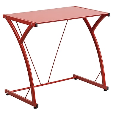 Flash Furniture – Bureau d'ordinateur contemporain en verre trempé, rouge (NANWKSD02RED)