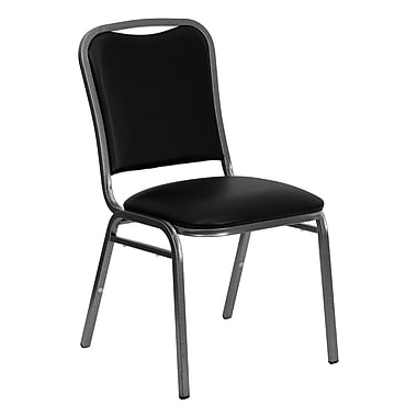 Flash Furniture Hercules Series Stacking Banquet Chair, 1.5''D Seat, Black Vinyl and Silver Vein Frame