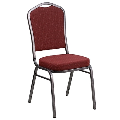 Flash Furniture  Hercules Crown-Back Stacking Banquet Chair, Burgundy Fabric 2.5'' Seat, Silver Vein Frame (NGC01HTS2201SV)