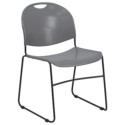 Flash Furniture Hercules Series 880lb-Capacity Ultra-Compact Stack Chair, Gray with Black Frame (RUT188GY)