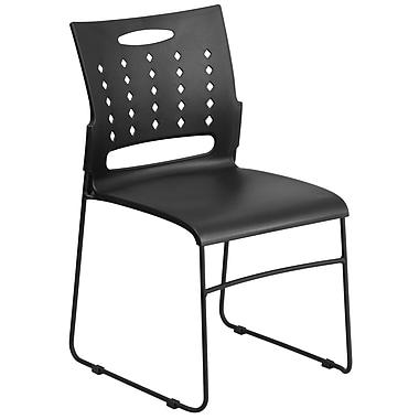 Flash Furniture – Chaise traîneau série HERCULES empilable avec ouverture d'aération, capacité de 881 lb, noir (RUT2BK)