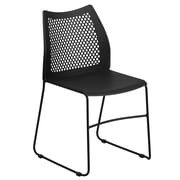 Flash Furniture  Hercules Series 661lb-Capacity Sled-Base Stack Chair, Black with Air-Vent Back (RUT498ABK)
