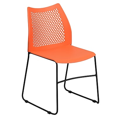 Flash Furniture Hercules Series 661lb Capacity Orange Sled Base Stack Chair with Air-Vent Back (RUT498AOR)