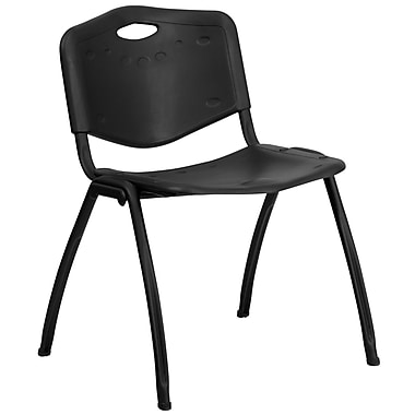 Flash Furniture Hercules Series Plastic Stack Chair with 800lb Capacity, Black