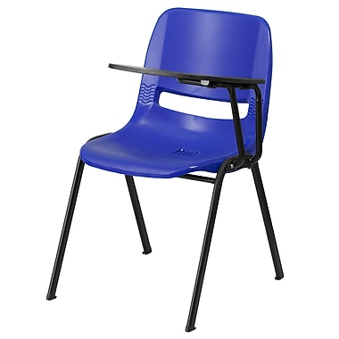 Flash Furniture Ergonomic Shell Chair, Blue with Left-Hand Flip-Up Tablet Arm (RUTEO1BLLTAB)