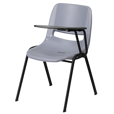 Flash Furniture Ergonomic Shell Chair, Gray, with Left-Handed Flip-Up Tablet Arm (RUTEO1GYLTAB)