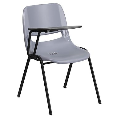 Flash Furniture Ergonomic Shell Chair, Gray with Right-Hand Flip-Up Tablet Arm (RUTEO1GYRTAB)