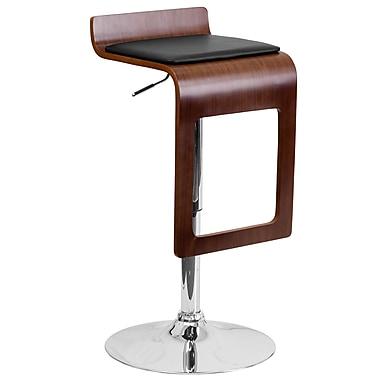 Flash Furniture – Tabouret en bois cintré, hauteur ajustable, siège en vinyle noir, appuie-jambes, noyer (SD20751WAL)