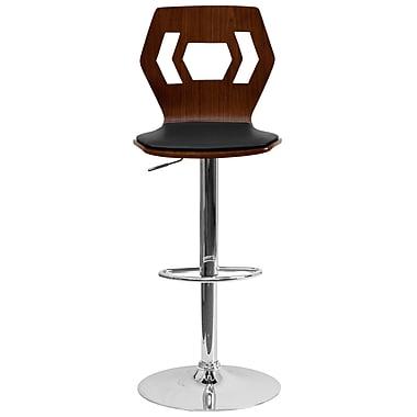 Flash Furniture – Tabouret à hauteur ajustable, siège en vinyle noir, dossier ajouré, bois cintré fini noyer (SD2162WAL)