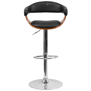 Flash Furniture Bentwood Adjustable Height Barstool, Walnut with Black Vinyl Upholstery (SD21782WAL)