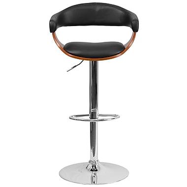 Flash Furniture – Tabouret bistro en bois cintré, hauteur ajustable, noyer avec garnitures en vinyle noir (SD21782WAL)