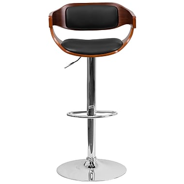 Flash Furniture Adjustable-Height Walnut Bentwood Barstool, Black Vinyl Upholstery (SD2179WAL)