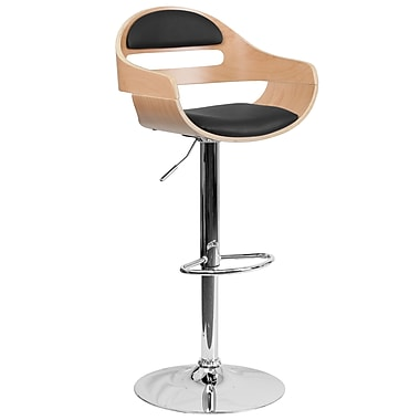 Flash Furniture Adjustable-Height Beech Bentwood Barstool, Black Vinyl Seat, Cutout Padded Back (SD2199)