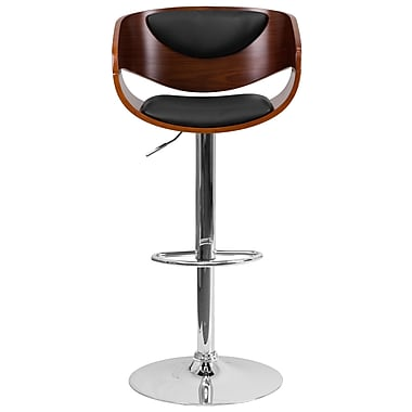 Flash Furniture – Tabouret de bar de 33 po ajustable, garnitures en vinyle noir, bois cintré fini noyer (SD2200WAL)