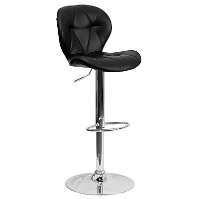"Flash Furniture 33"" Contemporary Tufted Black Vinyl Adjustable Height Barstool with Chrome Base (SD2208BK)"