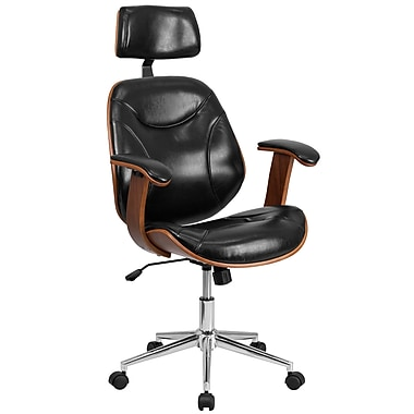 Flash Furniture SDSDM22355BKHR High-Back Black Leather Executive Wood Swivel Office Chair