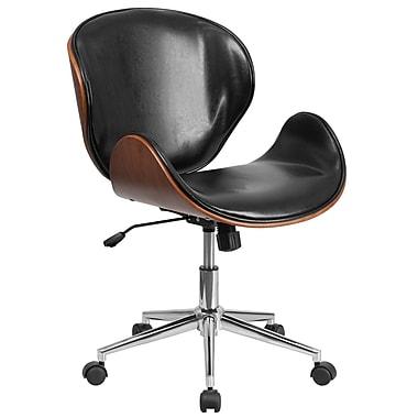Flash Furniture – Chaise de conférence pivotante à dossier moyen en bois de noyer et en cuir noir (SDSDM22405BK)