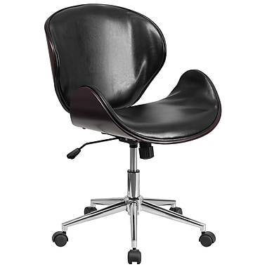 Flash Furniture SDSDM22405MAHBK Black Leather Mid-Back Swivel Conference Chair, Mahogany Wood
