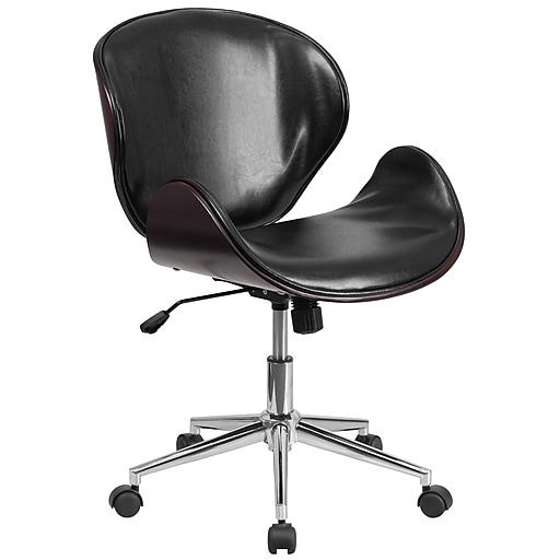 Flash Furniture SDSDM22405MAHBK Black Leather Mid-Back Swivel Conference Chair, Mahogany Wood